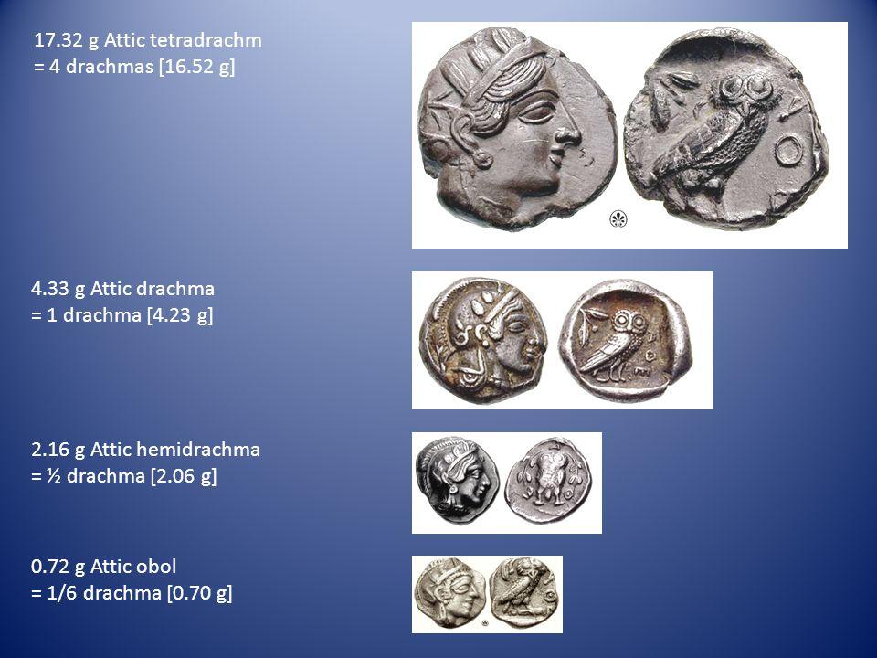 17.32 g Attic tetradrachm = 4 drachmas [16.52 g] 4.33 g Attic drachma. = 1 drachma [4.23 g] 2.16 g Attic hemidrachma.